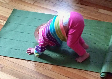 Jo did this all by herself this afternoon. Unrolled the mat and went straight to downward-facing dog.